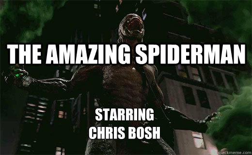 The Amazing Spiderman Starring  Chris Bosh - The Amazing Spiderman Starring  Chris Bosh  chris bosh meme