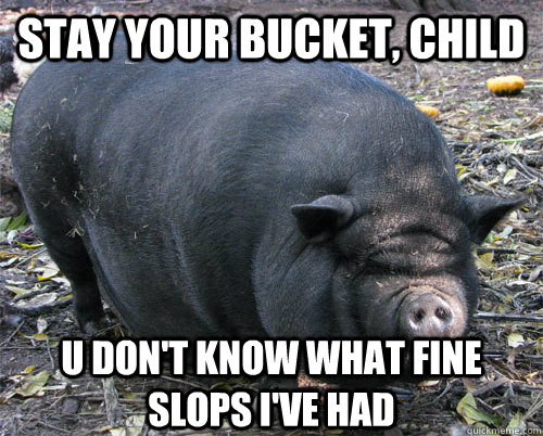 stay your bucket, child u don't know what fine slops i've had