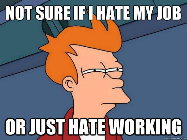 Not sure if i hate my job or just hate working - Not sure if i hate my job or just hate working  Futurama Fry