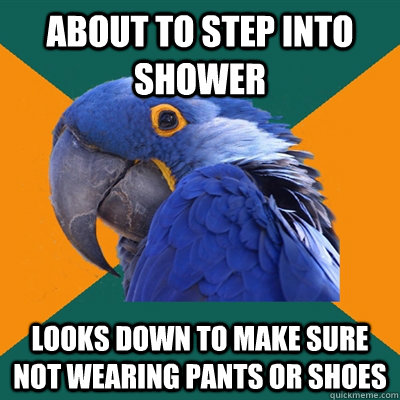 about to step into shower looks down to make sure not wearing pants or shoes - about to step into shower looks down to make sure not wearing pants or shoes  Paranoid Parrot