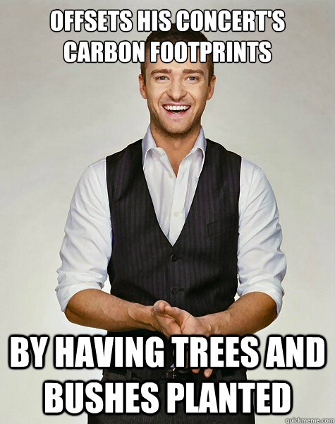 Offsets his concert's carbon footprints By having trees and bushes planted