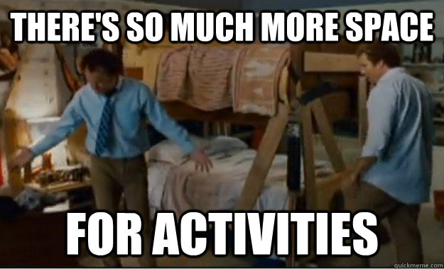There's so much more space for activities - There's so much more space for activities  Stepbrothers Activities