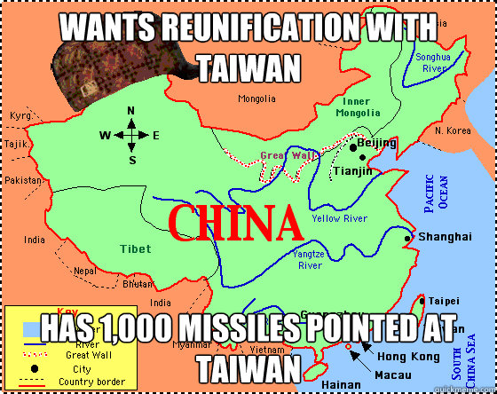 wants reunification with taiwan has 1,000 missiles pointed at taiwan - wants reunification with taiwan has 1,000 missiles pointed at taiwan  Scumbag China
