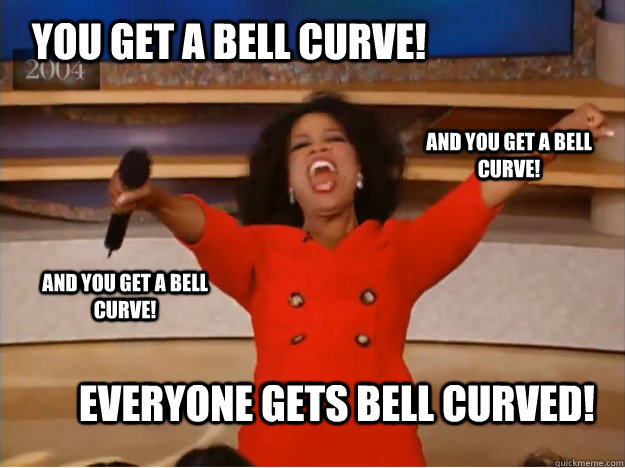 You get a bell curve! Everyone gets bell curved! And you get a bell curve! And you get a bell curve! - You get a bell curve! Everyone gets bell curved! And you get a bell curve! And you get a bell curve!  oprah you get a car