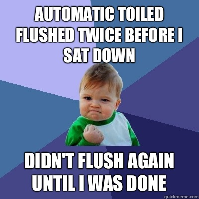 Automatic toiled flushed twice before I sat down Didn't flush again until I was done - Automatic toiled flushed twice before I sat down Didn't flush again until I was done  Success Kid