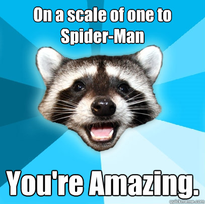 d6eae35e33d284db1fac143c30e8094e7f658d3aa2dc8f6bfcfa010d382b13ee on a scale of one to spider man you're amazing lame pun coon