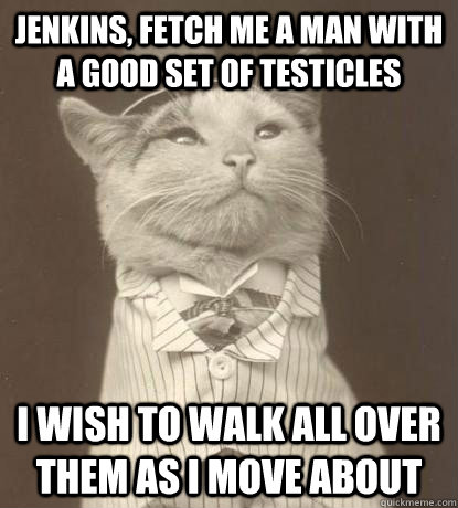 jenkins, fetch me a man with a good set of testicles i wish to walk all over them as i move about - jenkins, fetch me a man with a good set of testicles i wish to walk all over them as i move about  Aristocat