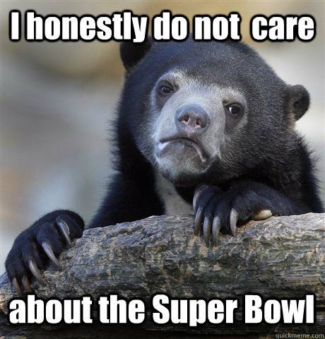 I honestly do not  care about the Super Bowl - I honestly do not  care about the Super Bowl  Confession Bear