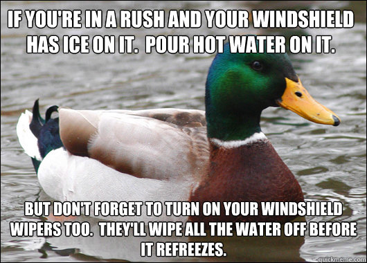 If you're in a rush and your windshield has ice on it.  Pour hot water on it. But don't forget to turn on your windshield wipers too.  They'll wipe all the water off before it refreezes. - If you're in a rush and your windshield has ice on it.  Pour hot water on it. But don't forget to turn on your windshield wipers too.  They'll wipe all the water off before it refreezes.  Actual Advice Mallard