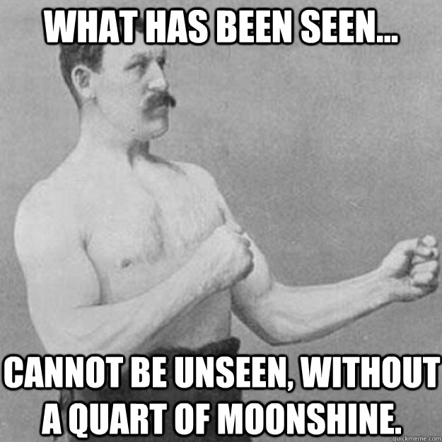 What has been seen... Cannot be unseen, without a quart of moonshine. - What has been seen... Cannot be unseen, without a quart of moonshine.  overly manly man
