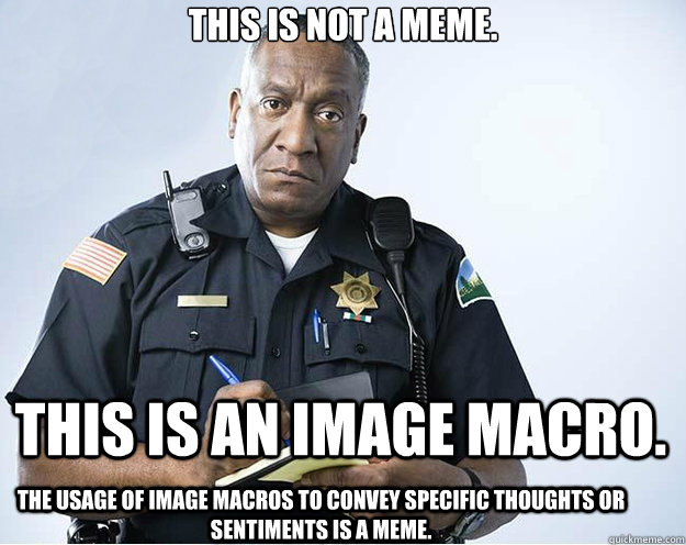 This is not a meme. This is an image macro. The usage of image macros to convey specific thoughts or sentiments is a meme. - This is not a meme. This is an image macro. The usage of image macros to convey specific thoughts or sentiments is a meme.  Misc