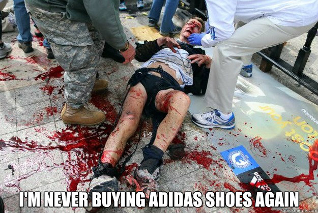 I'm never buying adidas shoes again - I'm never buying adidas shoes again  Bad product placement GORE