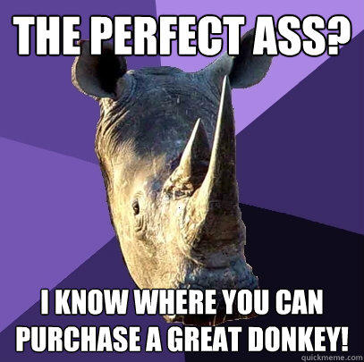 The perfect ass? I know where you can purchase a great donkey! - The perfect ass? I know where you can purchase a great donkey!  Sexually Oblivious Rhino