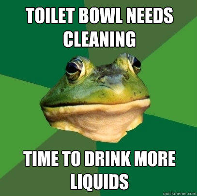 toilet bowl needs cleaning time to drink more liquids - toilet bowl needs cleaning time to drink more liquids  Foul Bachelor Frog