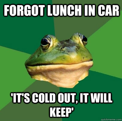 forgot lunch in car 'it's cold out, it will keep' - forgot lunch in car 'it's cold out, it will keep'  Foul Bachelor Frog