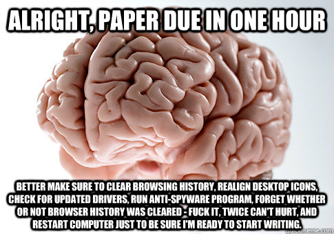 ALRIGHT, PAPER DUE IN ONE HOUR BETTER MAKE SURE TO CLEAR BROWSING HISTORY, REALIGN DESKTOP ICONS, CHECK FOR UPDATED DRIVERS, RUN ANTI-SPYWARE PROGRAM, FORGET WHETHER OR NOT BROWSER HISTORY WAS CLEARED - FUCK IT, TWICE CAN'T HURT, AND RESTART COMPUTER JUST - ALRIGHT, PAPER DUE IN ONE HOUR BETTER MAKE SURE TO CLEAR BROWSING HISTORY, REALIGN DESKTOP ICONS, CHECK FOR UPDATED DRIVERS, RUN ANTI-SPYWARE PROGRAM, FORGET WHETHER OR NOT BROWSER HISTORY WAS CLEARED - FUCK IT, TWICE CAN'T HURT, AND RESTART COMPUTER JUST  Scumbag Brain