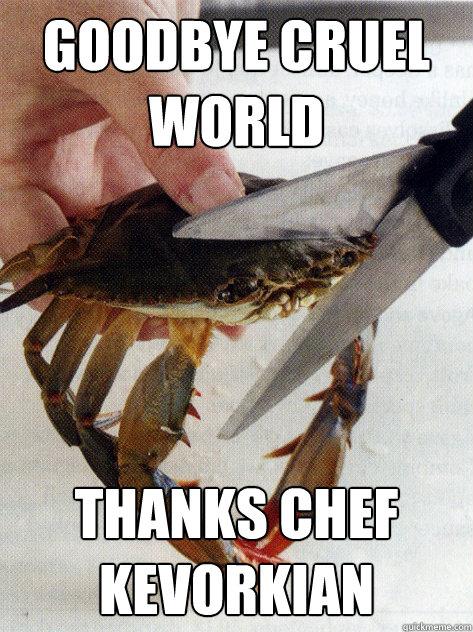 goodbye cruel world thanks chef kevorkian - goodbye cruel world thanks chef kevorkian  Optimistic Crab