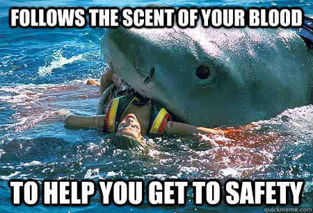 follows the scent of your blood to help you get to safety - follows the scent of your blood to help you get to safety  misunderstoodshark