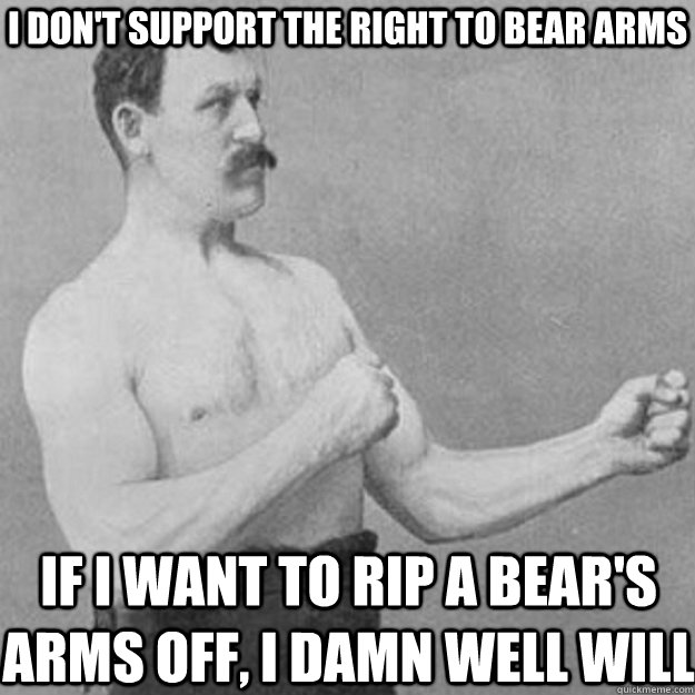 I don't support the right to bear arms If I want to rip a bear's arms off, I damn well will - I don't support the right to bear arms If I want to rip a bear's arms off, I damn well will  overly manly man