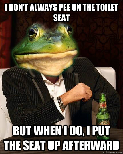 I DON'T ALWAYS pee on the toilet seat bUT WHEN i DO, I put the seat up afterward