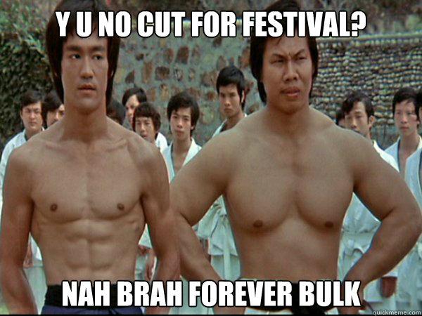 Y u no cut for festival? Nah Brah Forever Bulk