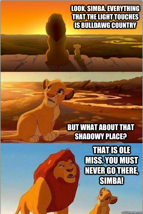 Look, Simba. Everything that the light touches is Bulldawg Country But what about that shadowy place? That is Ole Miss. You must NEVER go there, Simba!