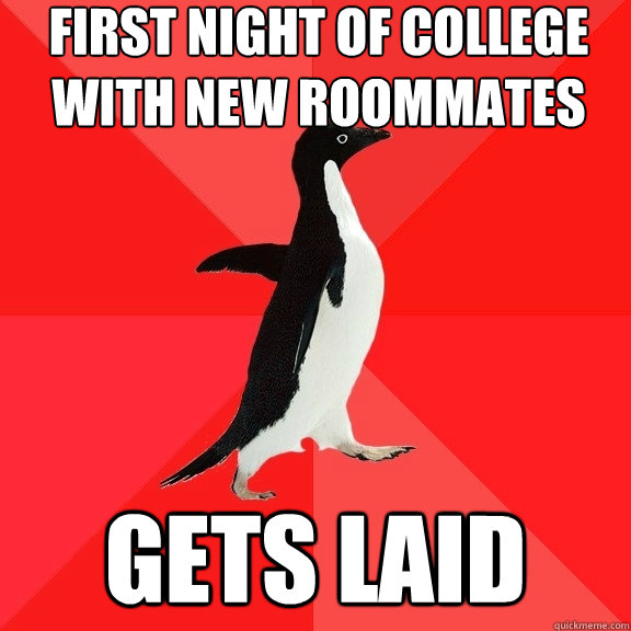 first night of college with new roommates gets laid - first night of college with new roommates gets laid  Socially Awesome Penguin