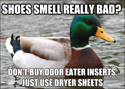 Shoes smell really bad? Don't buy odor eater inserts,  just use dryer sheets  - Shoes smell really bad? Don't buy odor eater inserts,  just use dryer sheets   Actual Advice Mallard