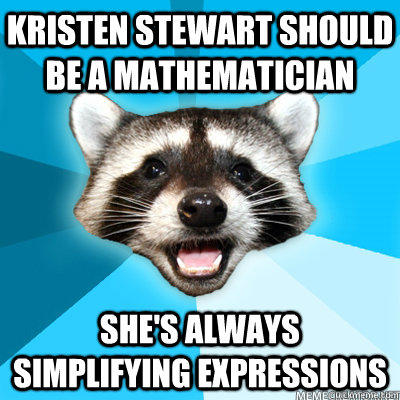 Kristen Stewart should be a mathematician she's always simplifying expressions - Kristen Stewart should be a mathematician she's always simplifying expressions  Lame Pun Coon