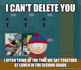 I can't delete you I often think of the time we sat together at lunch in the second grade  Hoarding stan