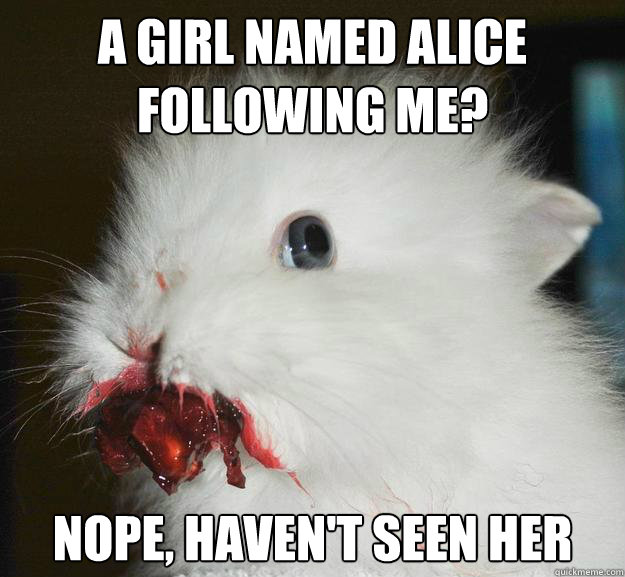 a girl named alice following me? nope, haven't seen her