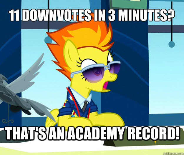 11 downvotes in 3 minutes? That's an academy record! - 11 downvotes in 3 minutes? That's an academy record!  Misc