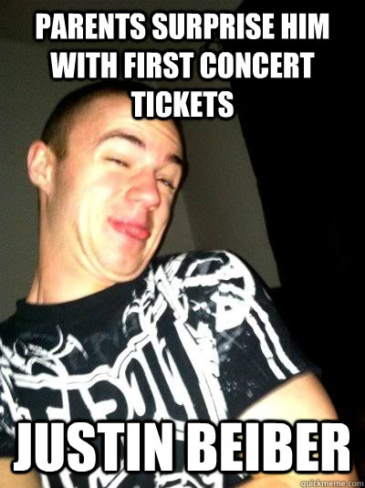 parents surprise him with first concert tickets Justin Beiber