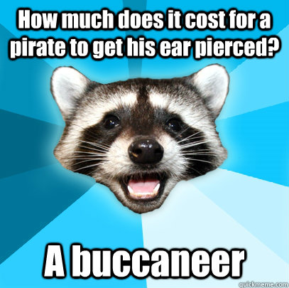 How much does it cost for a pirate to get his ear pierced? A buccaneer - How much does it cost for a pirate to get his ear pierced? A buccaneer  Lame Pun Coon