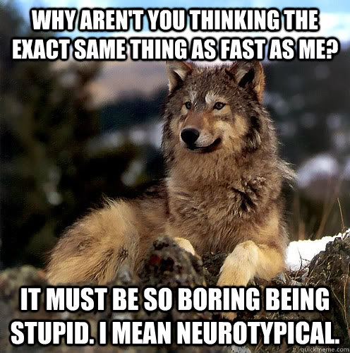 Why aren't you thinking the exact same thing as fast as me? It must be so boring being stupid. I mean neurotypical.  Aspie Wolf