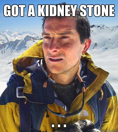 got a kidney stone . . . - got a kidney stone . . .  Bear Grylls