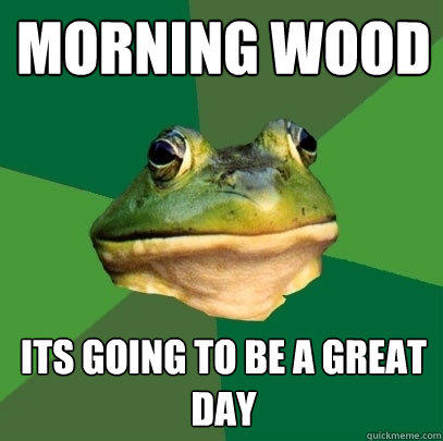 morning wood its going to be a great day - morning wood its going to be a great day  Foul Bachelor Frog