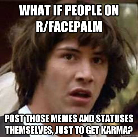 What if people on r/facepalm post those memes and statuses themselves, just to get karma? - What if people on r/facepalm post those memes and statuses themselves, just to get karma?  conspiracy keanu