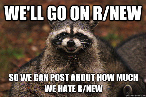 We'll go on r/new So we can post about how much we hate r/new - We'll go on r/new So we can post about how much we hate r/new  Insidious Racoon 2