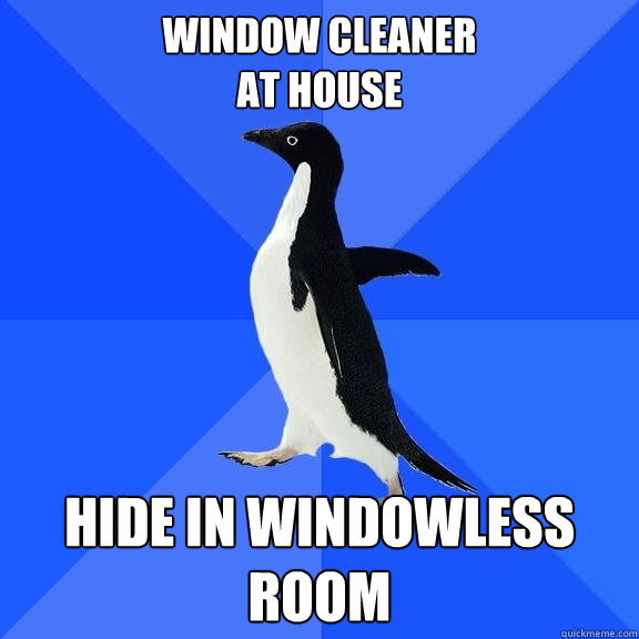 Window Cleaner  at house Hide in windowless room - Window Cleaner  at house Hide in windowless room  Socially Awkward Penguin