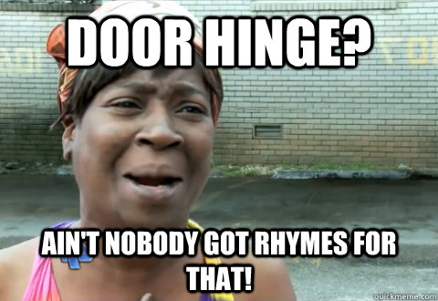 Door hinge? Ain't nobody got rhymes for that! - Door hinge? Ain't nobody got rhymes for that!  aint nobody got time