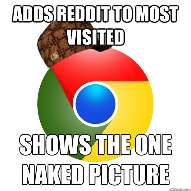 adds reddit to most visited shows the one naked picture Caption 3 goes here  Scumbag Google Chrome