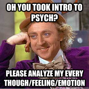 Oh you took intro to psych? Please analyze my every though/feeling/emotion - Oh you took intro to psych? Please analyze my every though/feeling/emotion  Condescending Wonka