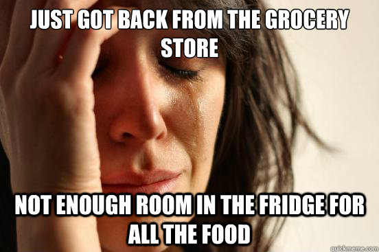 Just got back from the grocery store not enough room in the fridge for all the food - Just got back from the grocery store not enough room in the fridge for all the food  First World Problems
