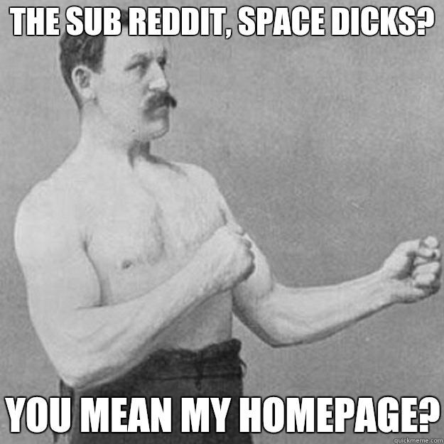 The sub Reddit, space dicks? YOU MEAN MY HOMEPAGE? - The sub Reddit, space dicks? YOU MEAN MY HOMEPAGE?  overly manly man