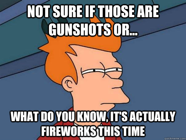 Not sure if those are gunshots or... what do you know, it's actually fireworks this time - Not sure if those are gunshots or... what do you know, it's actually fireworks this time  Futurama Fry