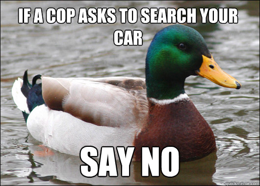 If a cop asks to search your car Say NO - If a cop asks to search your car Say NO  Actual Advice Mallard