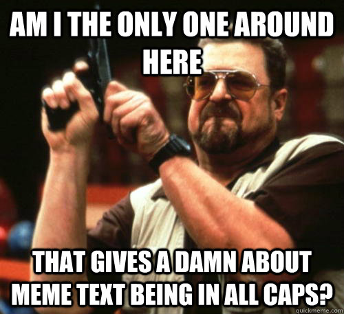 AM I THE ONLY ONE AROUND HERE  THAT GIVES A DAMN ABOUT MEME TEXT BEING IN ALL CAPS? - AM I THE ONLY ONE AROUND HERE  THAT GIVES A DAMN ABOUT MEME TEXT BEING IN ALL CAPS?  Am I The Only One Around Here