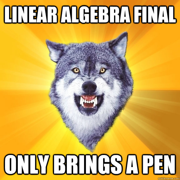 LINEAR ALGEBRA FINAL ONLY BRINGS A PEN - LINEAR ALGEBRA FINAL ONLY BRINGS A PEN  Courage Wolf