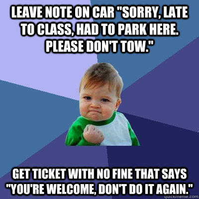 Leave note on car